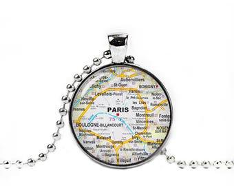 Paris Necklace Paris Map Pendant Paris City Map Necklace France Map Wander Travel Jewelry