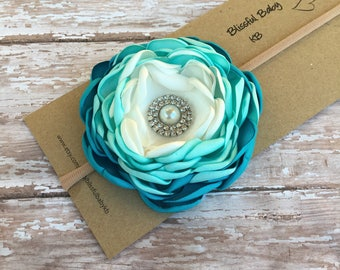 Satin flowers headbands, headbands, singed flower headbands, blue flower headbands, blue hair bows, easter headbands, spring headbands