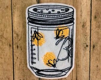 Fireflies Embroidered Patch, Lightning Bugs, Summer, Firefly Jar