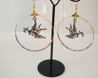 beads and peace dove earrings
