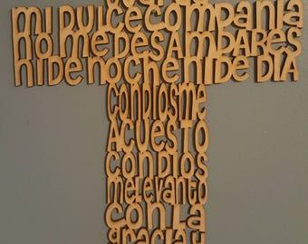 Guardian Angel Prayer Cross Cruz Angel de la Guarda Oracion Wood Cross Wall Decoration Baptism Christening Favors Spanish Prayer