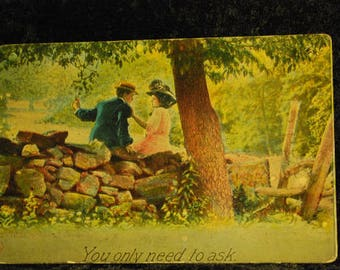 1129 - Vintage Post Card - You Only Need to Ask