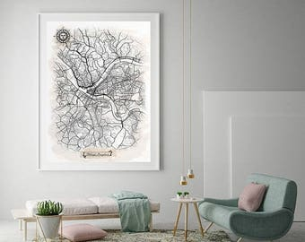 33% SALE PITTSBURGH Pennsylvania Watercolor Map Art Black Ink and Light Watercolor Vintage City Map Large Size Graphic Drawn Wall Art Canvas