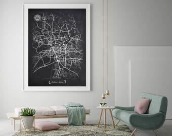 TUSCALOOSA Alabama Chalkboard Map Art Black and White Tuscaloosa AL Vintage City Map Graphic Detailed Scheme Street Map Wall Art Decor