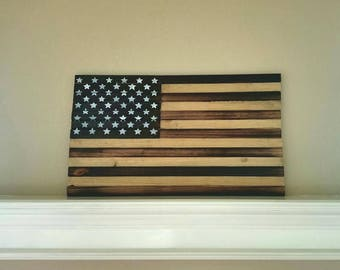 Solid Wood American Flag All Burnt Hand Painted Large Sign
