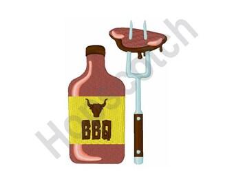 BBQ Sauce - Machine Embroidery Design- 4 X 4 Hoop, Grilling, Picnic, Steak, Chef, Summer