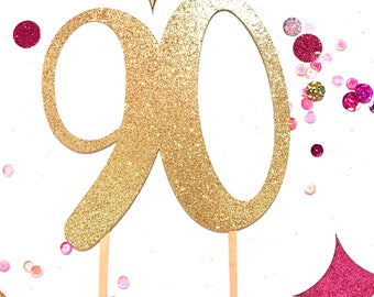 90th Cake Topper, Cake Topper, Gold Cake Topper, 90th Birthday Cake Topper, Cake Decorations