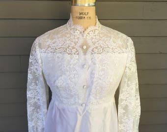 1960s Wedding Dress Long Sleeves Detachable Train High Waist Size 6 Empire Waist