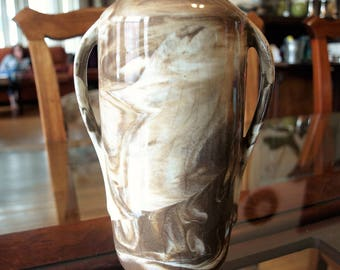 Antique Ceramic Stoneware Brown and White Vase with Sand Art Style Glaze and Two Handles