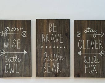 Be Brave Little Bear Grow Wise Little Owl Woodland Nursery
