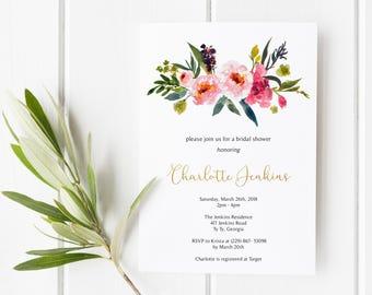 Bridal Shower Invitations, Printable Bridal Shower Invitations, Floral Watercolor Invitations, Bridal Shower Invite, Gold Foil Bridal Shower