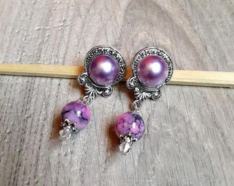 "Earring posts Victorian spirit, cabochon, ""Lottie"", marbled, metal beads, silver, earrings, romantic,"