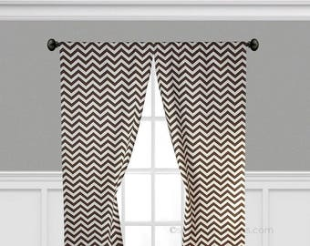 Chocolate Brown Curtains Chevron Zig Zag Window Treatments Stripe Custom  Drapes Living Room Dining Room Drapery