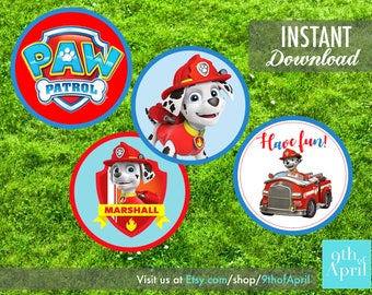 Paw Patrol Marshall Cupcake Topper // INSTANT DOWNLOAD