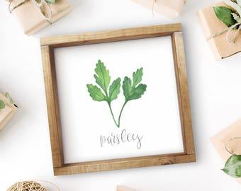 "Mix + Match Kitchen Herb Print || 8""x8"" Parsley Kitchen Herb Wall Art || Kitchen Herb Decor || Herb Print Instant Download (DIGITAL PRODUCT)"