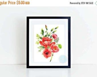 25% OFF SALE- PRINTABLE Flower Art Prints Poppy Painting Art Poppy Art Poppy Watercolor Art Red Poppies Floral Wall Art Flowers Art Print Fl