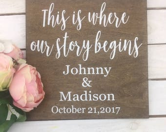 """This Is Where Our Story Begins Wedding Sign-Rustic Wedding Sign-12""""x 12"""" Wood Sign-Wedding Couple Name Sign"""