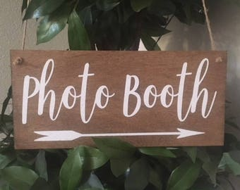 "Photo Booth Sign-Rustic 12""x 5.5"" Wedding Photo Booth Sign-Country Chic Photo Booth Sign"