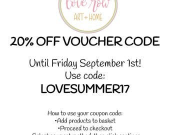 Voucher Code For 20% OFF Until Friday September 1st 2017!