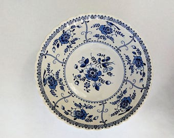 Vintage Bowls Blue and White Johnson Brothers Indies Square and Round