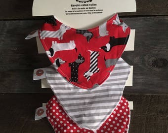 All 3 bibs bibs for baby 0-12 months dog Dachshund sausage red black gray dots line