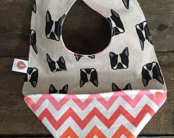 Scalable reversible bib for baby child bib bavana boston terrier dog pug chevron pink gray orange