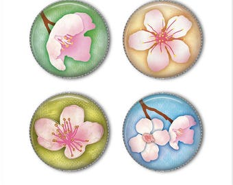 Cherry Blossoms magnets or pins, refrigerator magnets, fridge magnets, office magnets (2)