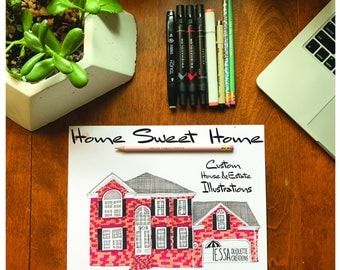 Home Sweet Home: Custom House & Estate Hand Drawn Illustrations