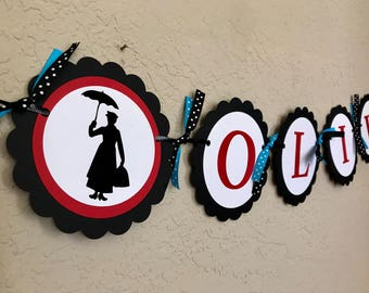 Mary Poppins Banner, Mary Poppins Birthday Banner, Mary Poppins Party, Mary Poppins Birthday Party, Mary Poppins Hat, Mary Poppins Costume