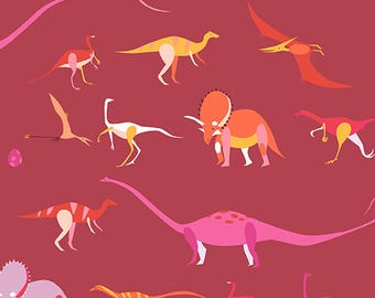 Dino Exhibit, from, Natural History, by Lizzy House, for Andover Fabrics, Fat Quarter, FQ,  Half Yard, Dinosaur, Red, OOP, HTF