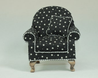 Dolls House Miniature 1:12 Scale Black and White Armchair with cushion