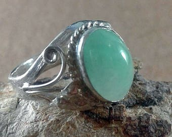 NATURAL Jade Ring, Sterling Silver 925 Size 7 (US)