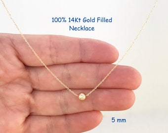 Gold Necklace, Gold Bead, 14Kt Gold Filled, Gold Ball, Bead Necklace Jewelry, Tiny Gold Dot, Minimalist, Simple, Dainty, Bridesmaid Gift