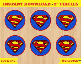 Superman Cupcake Toppers/ Superman Birthday/ Superman Party/ Superman Stickers/ Superman Party Favors/ Labels/ Printable Superman Party