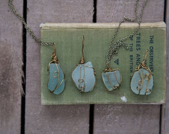 BLUE SEAGLASS NECKLACE | Hand Wrapped Aqua Cornish glass | Antique Bronze Pendant | Eco-friendly | Gifts for Her |