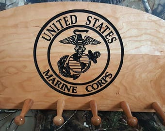 Wooden coat rack, hat rack with USMC seal engraving