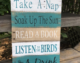 Rustic sign 'Deck Rules',  home decor, wood signs, pallet sign, patio decor, patio sign