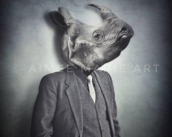 Rhino Gifts, Rhinoceros Print, Weird Art, Unusual Gifts, Photography Prints, Quirky, Surrealism, Animal Print, Dark Art, Unique, Grey Art