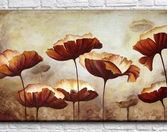 Flower paintng, Art Print on Canvas, Large  Wall Art , Living Room Decor, Extra Large Canvas Art, Interior Art, Flower Art
