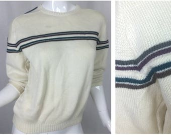 Cream Knitted Sweater Warm Pullover Size Small