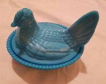Chicken, Blue Milk Glass