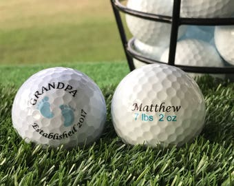 Grandpa Boy Pregnancy Announcement, Birth Announcement, or Gender Reveal Personalized Custom Golf Ball Set of 3, FAST SHIPPING!!