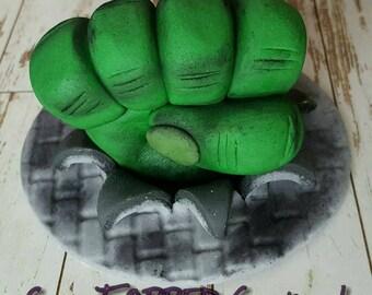Edible Fondant Hulk Fist Cake Topper! 10cm