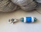 Small Blue Beaded Row Counter -Removable Progress Keeper -Stitch Marker Crocheters and Knitters -Zipper Pull -Notion -Accessory -Tool -Clay