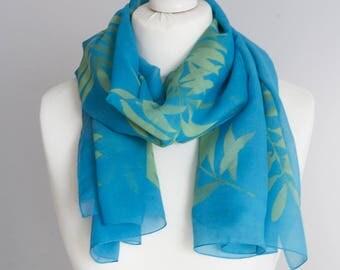 """Vintage long scarf, retro scarf pareo, polyester scarf, fabric women scarf shawl 92x152cm / 36x60"""" tropical scarf, sheer scarf blue green"""