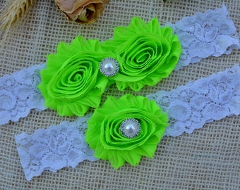 Garter Neon Green, Wedding Garters, Wedding Garter Belt, White and Green, Vintage Wedding, Bridal, Lace Garter White, Wedding Garter Set