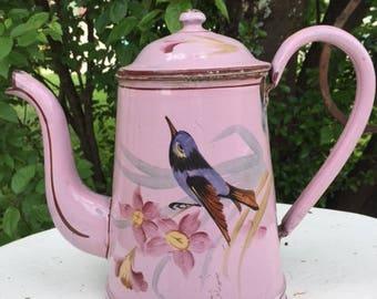 Old French ENAMELWARE Graniteware COFFEE POT Bird on Powdered Pink Ground Cafetière émaillée Oiseau
