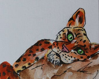 Leopard watercolour painting on canvas board