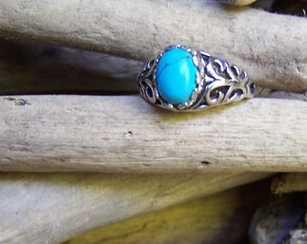 SETA 925 Silver Ring with Turquoise Stone, Size 4