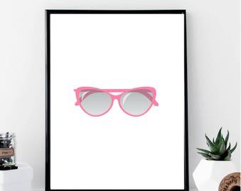Cat Eye Sunglasses Print // Minimalist // Wall Art // Typography // Fashion // Scandinavian // Boho // Modern Office